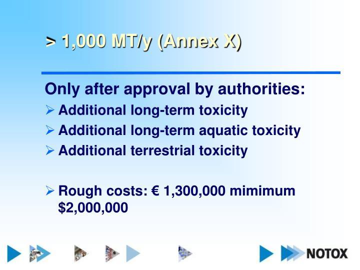 > 1,000 MT/y (Annex X)