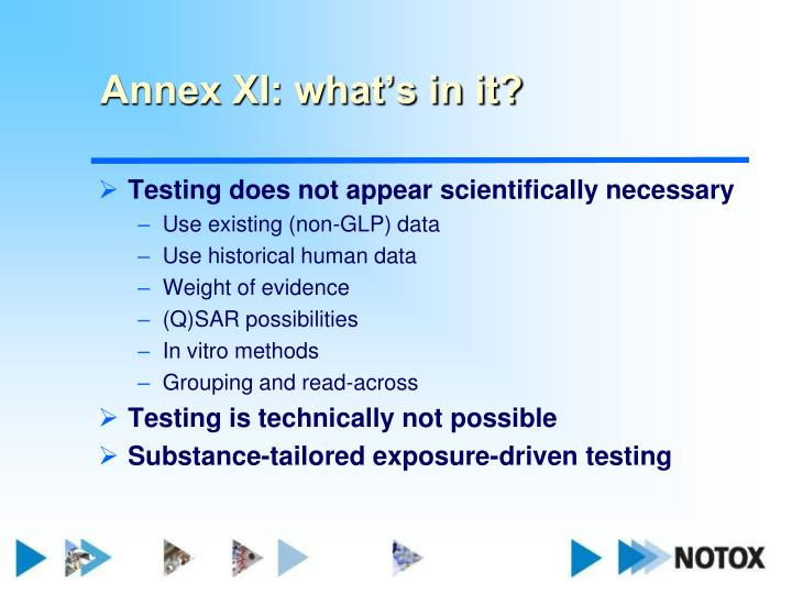 Annex XI: what's in it?