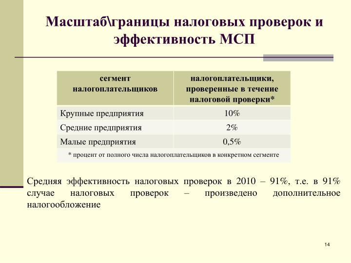 Масштаб\границы налоговых проверок и эффективность МСП