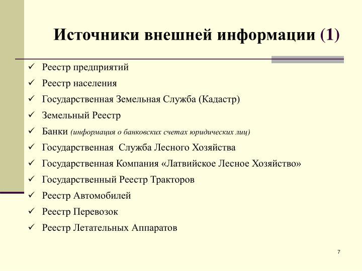 Источники внешней информации