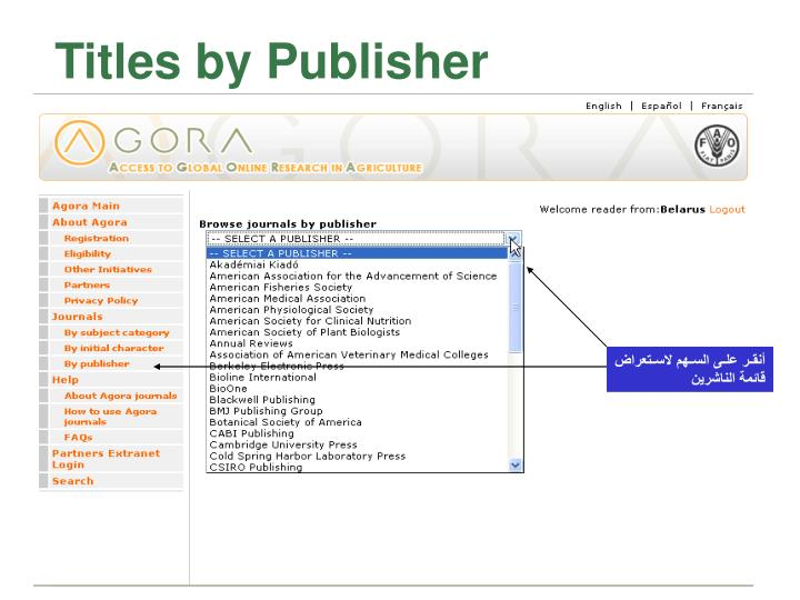 Titles by Publisher