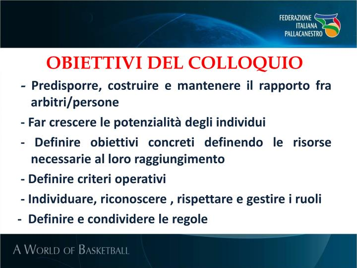 OBIETTIVI DEL COLLOQUIO