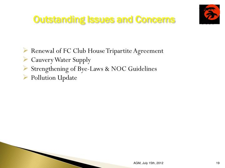 Outstanding Issues and Concerns