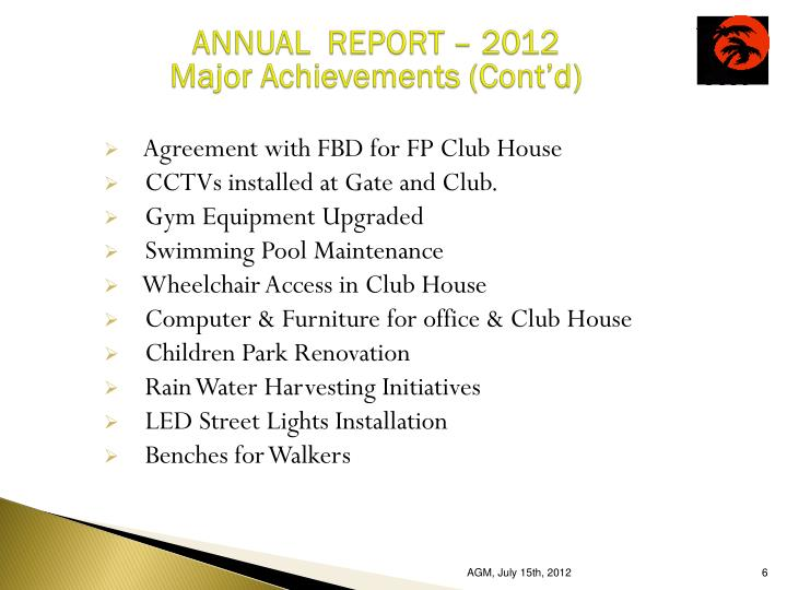 ANNUAL  REPORT – 2012