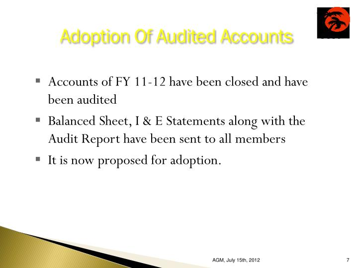 Adoption Of Audited Accounts