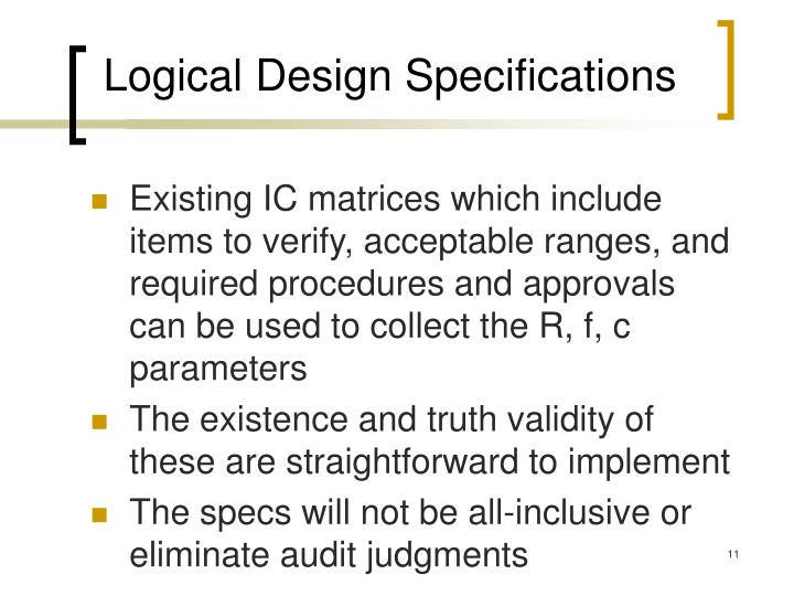 Logical Design Specifications