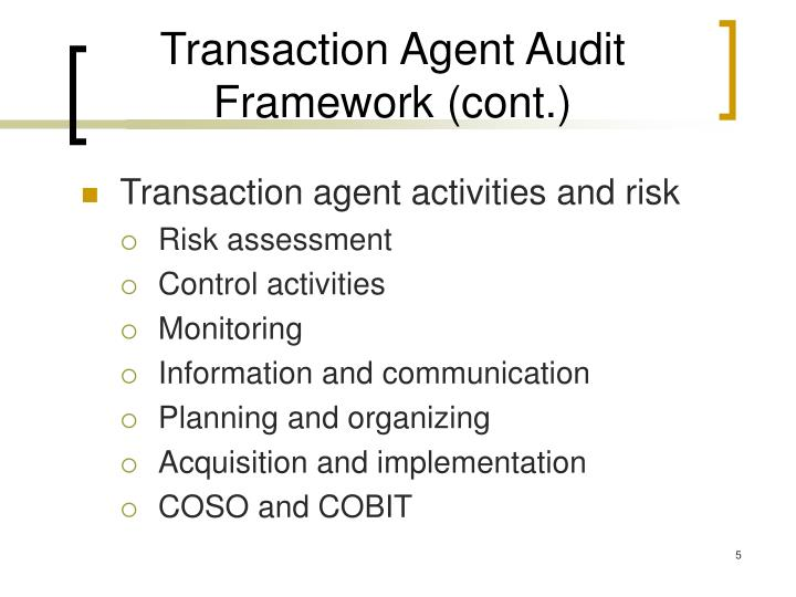 Transaction Agent Audit Framework (cont.)