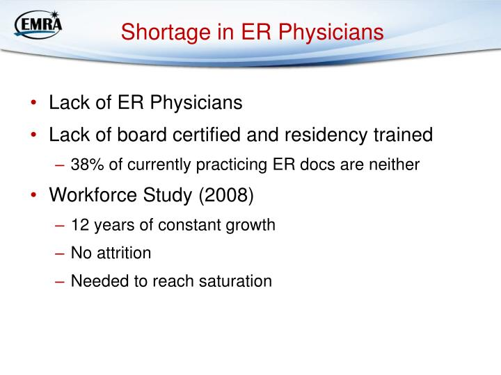 Shortage in ER Physicians