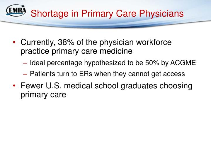 Shortage in Primary Care Physicians