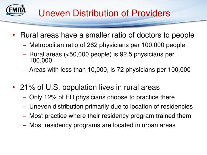 Uneven Distribution of Providers