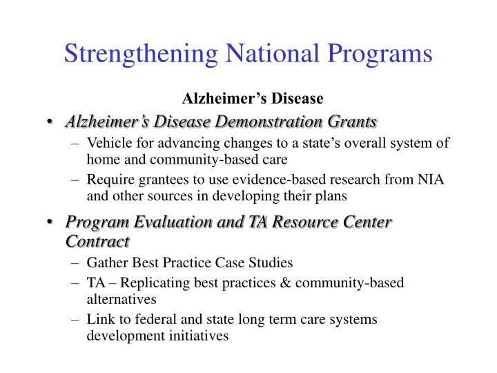 Strengthening National Programs