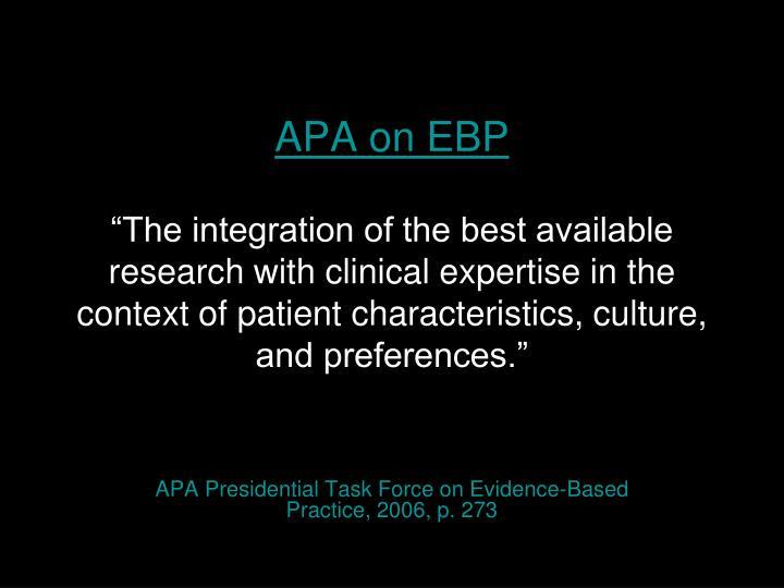 APA on EBP