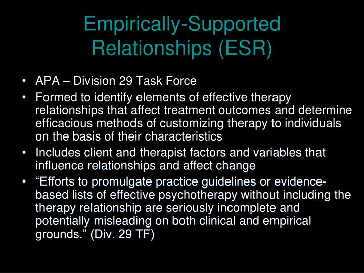 Empirically-Supported Relationships (ESR)