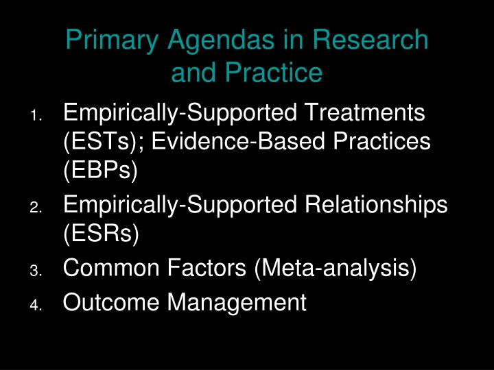Primary Agendas in Research