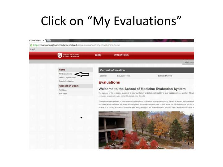"Click on ""My Evaluations"""