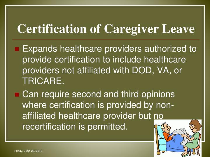 Certification of Caregiver Leave
