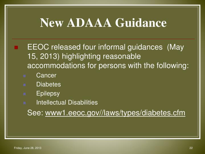 New ADAAA Guidance