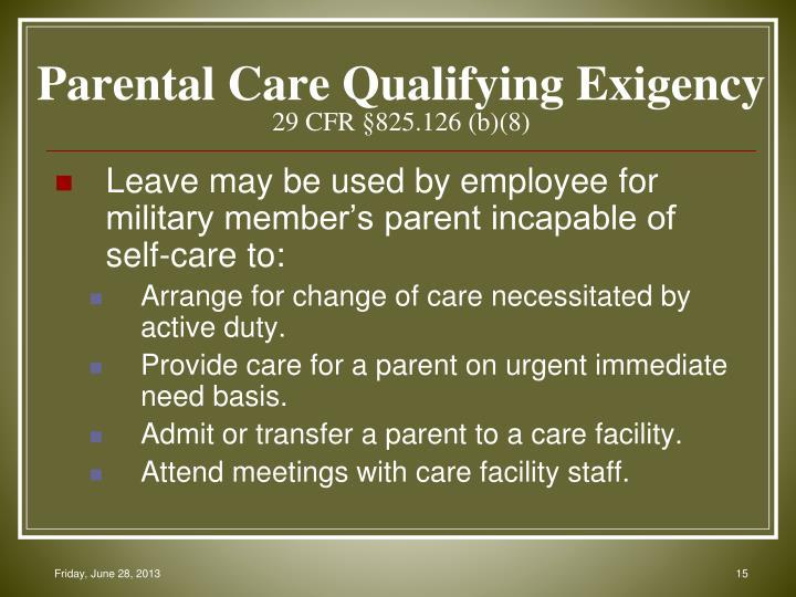 Parental Care Qualifying Exigency