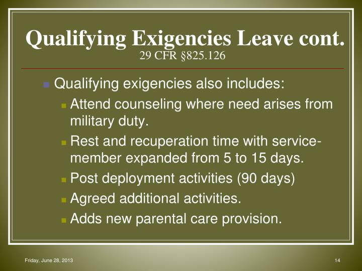 Qualifying Exigencies Leave cont.