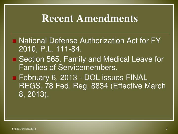 Recent Amendments