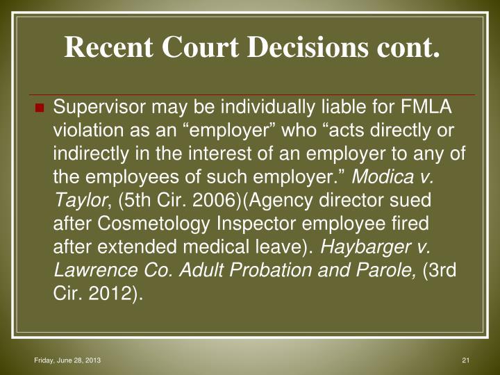 Recent Court Decisions cont.