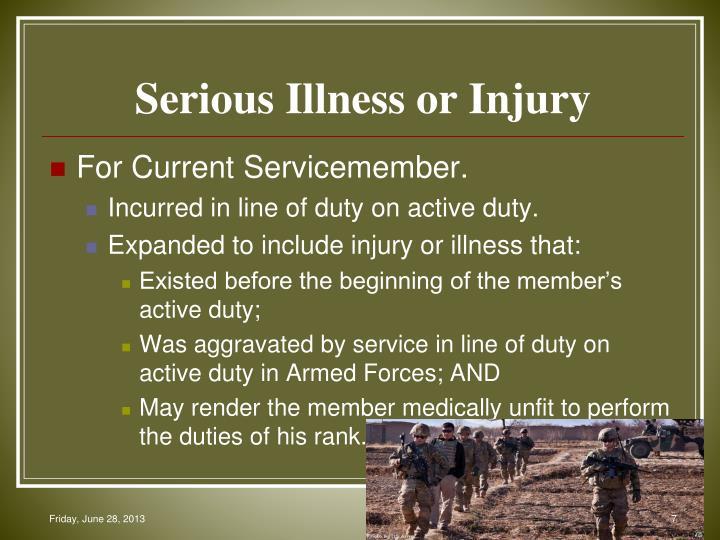 Serious Illness or Injury