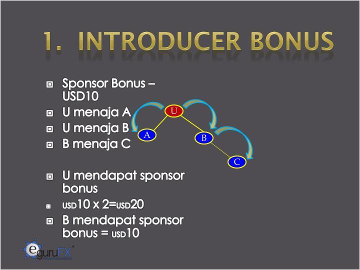 1.  INTRODUCER BONUS