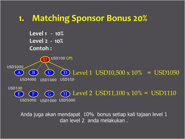 1.    Matching Sponsor Bonus 20%