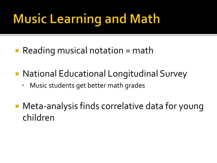 Music Learning and Math