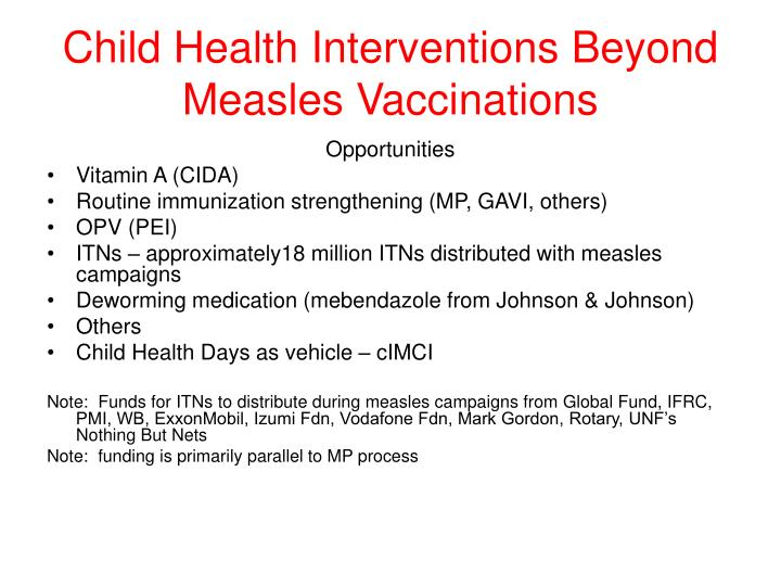 Child Health Interventions Beyond Measles Vaccinations