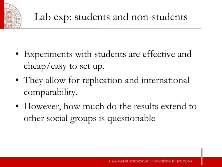 Lab exp: students and non-students