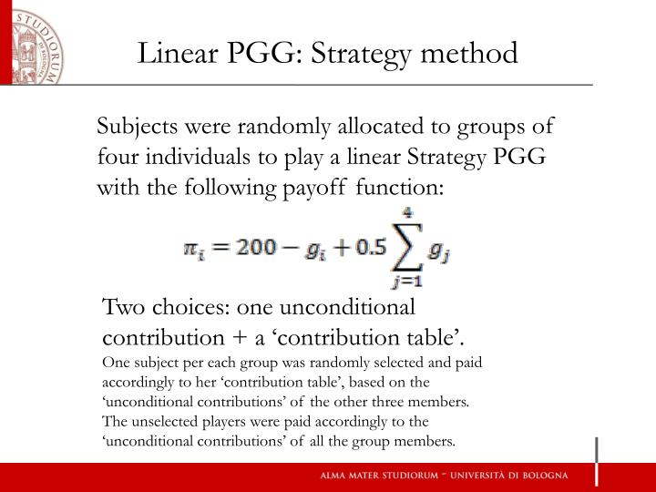 Linear PGG: Strategy method