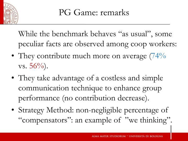 PG Game: remarks