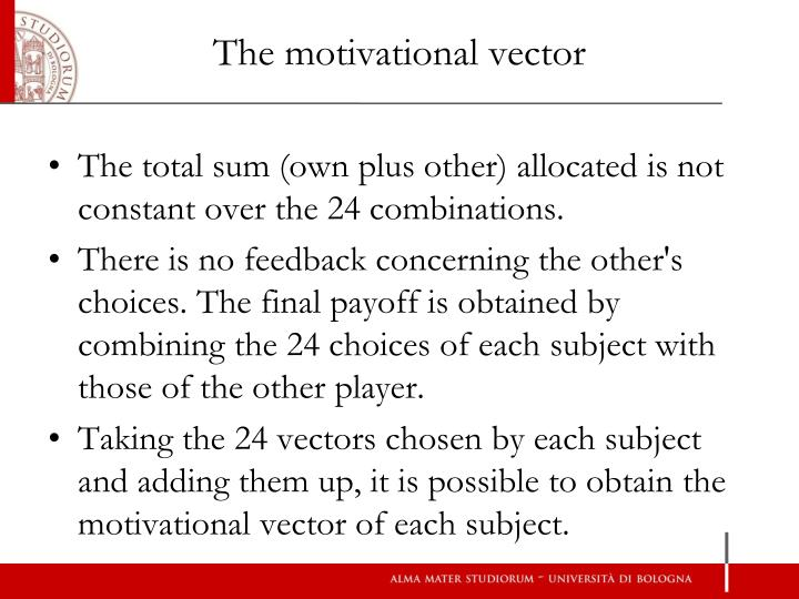 The motivational vector