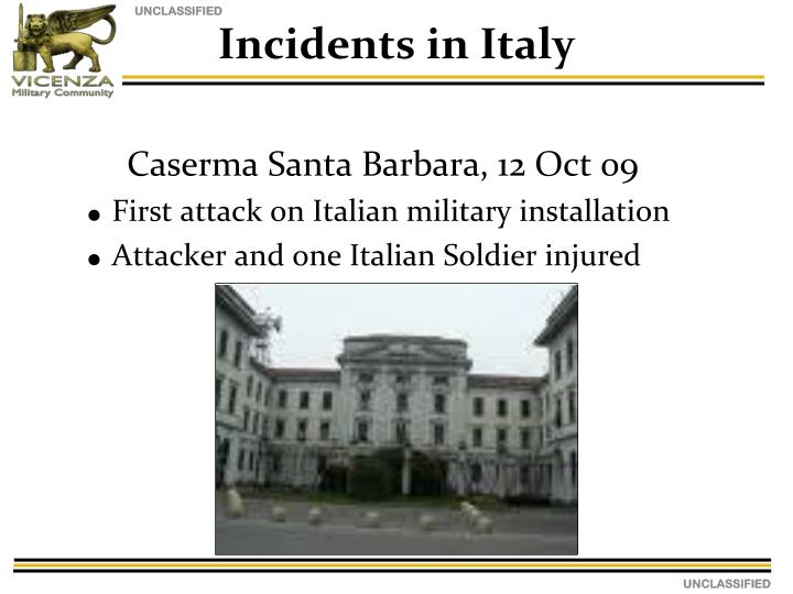 Incidents in Italy
