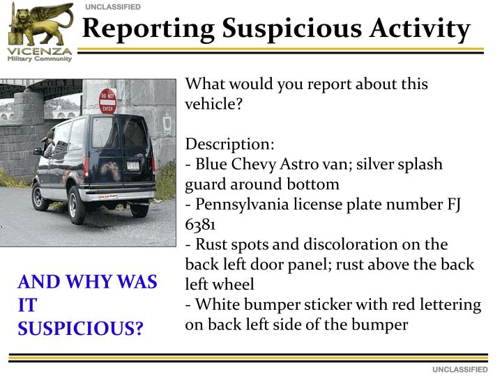 Reporting Suspicious Activity