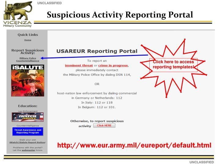 Suspicious Activity Reporting Portal
