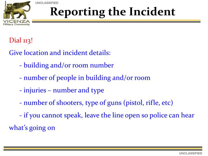 Reporting the Incident