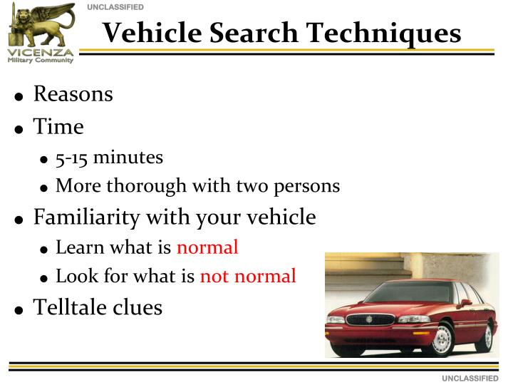 Vehicle Search Techniques