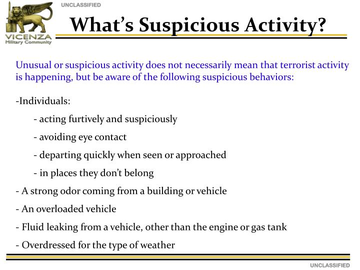 What's Suspicious Activity?