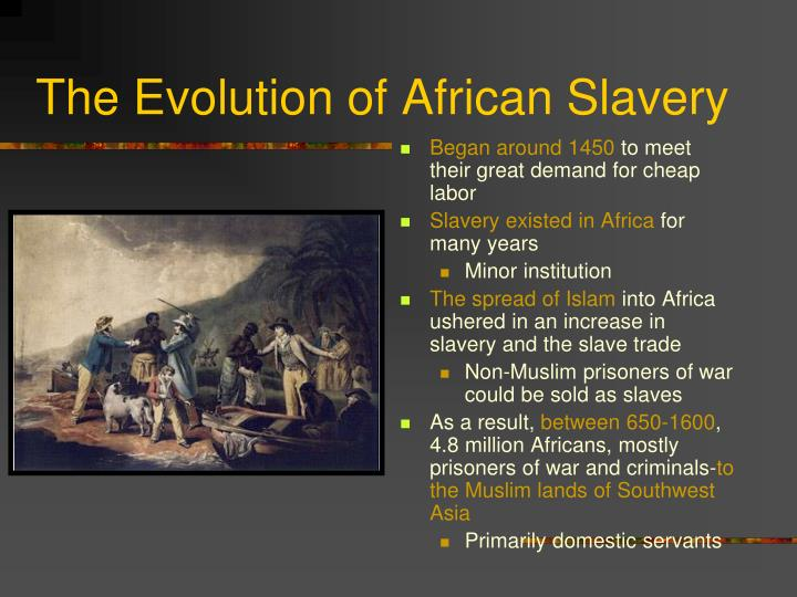 the evolution of slavery Free college essay slavery in the early colonies joe evancho dr tremayne history 111 february 5,  the evolution of slavery in colonial america.