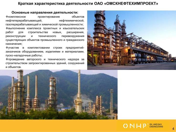 Краткая характеристика деятельности ОАО «ОМСКНЕФТЕХИМПРОЕКТ»
