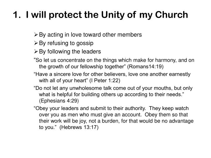 1.  I will protect the Unity of my Church