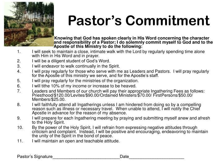Pastor's Commitment