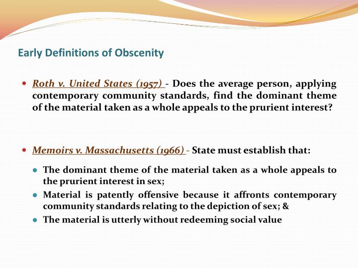 Early definitions of obscenity