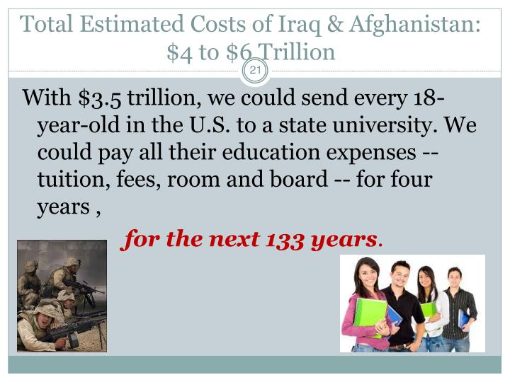 Total Estimated Costs of Iraq & Afghanistan: $4 to $6 Trillion
