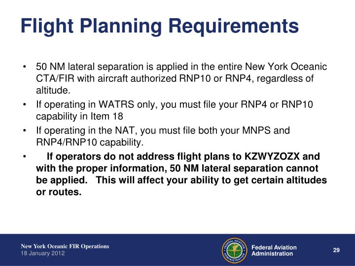 Flight Planning Requirements