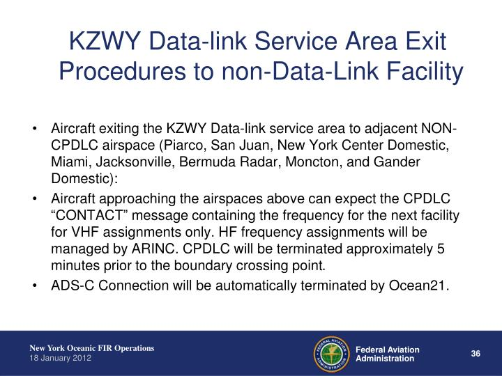 KZWY Data-link Service Area Exit