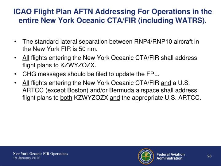 ICAO Flight Plan AFTN Addressing For Operations in the entire New York Oceanic CTA/FIR (including WATRS).