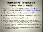 international initiatives in school mental health